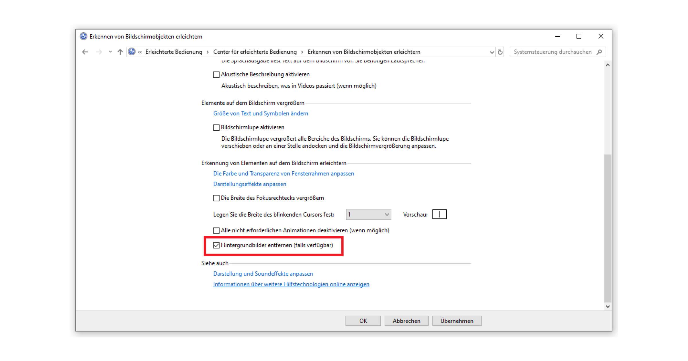 Im Menü von Windows 10 die Meldung entfernen