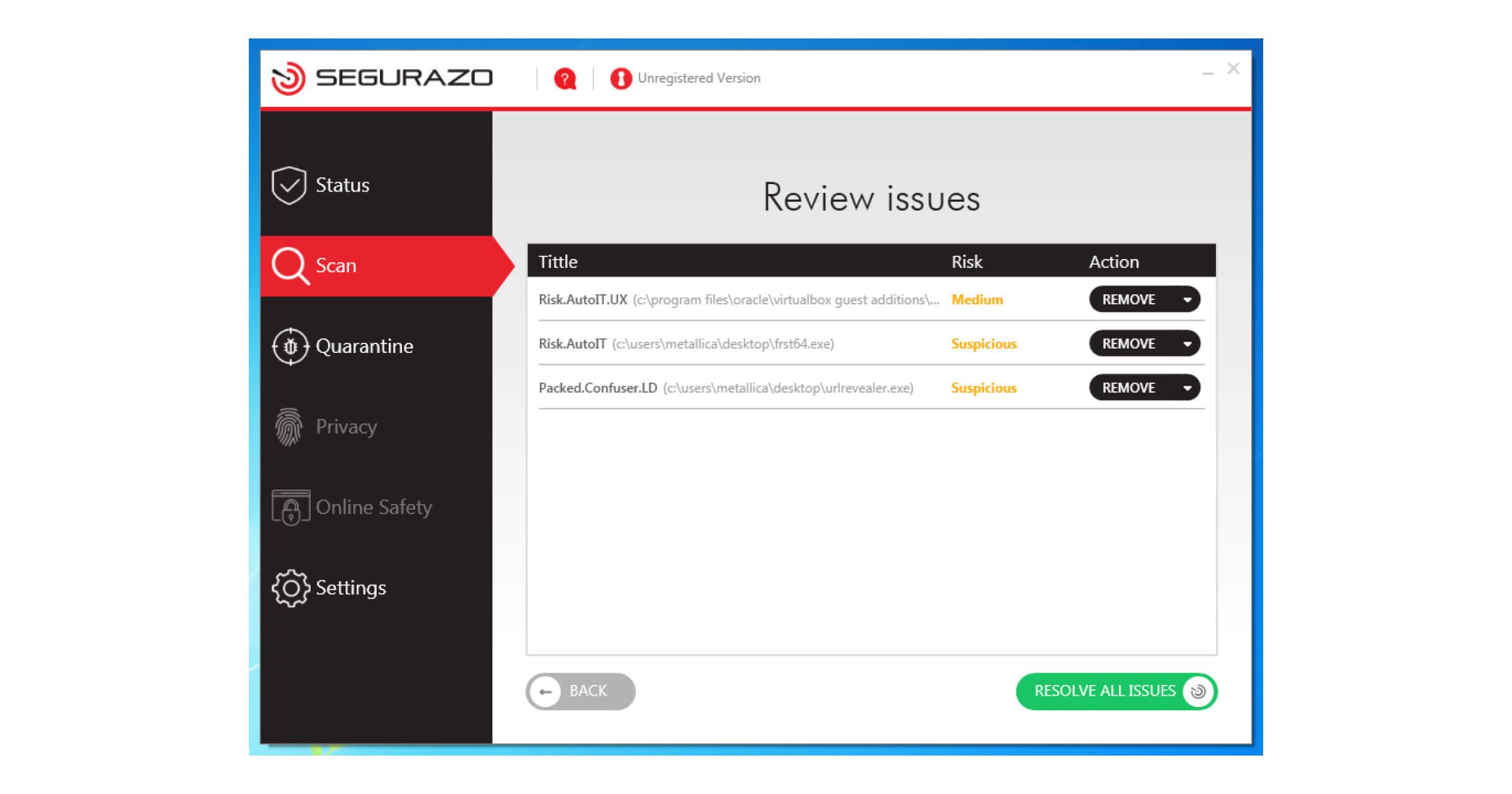 Das Interface von Segurazo Antivirus sieht täuschend echt aus