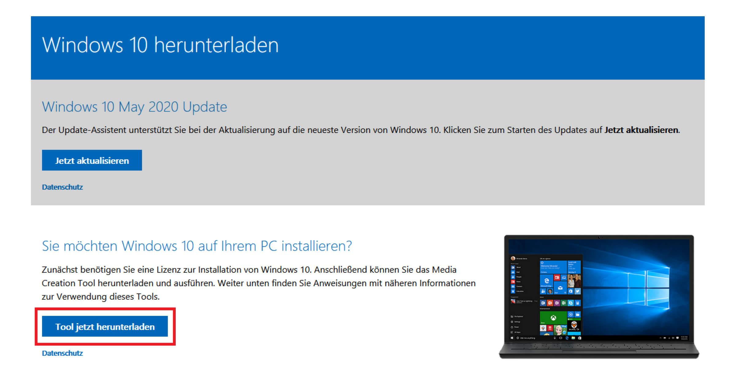 Das Media Creation Tool hilft beim Upgrade von Windows 7 auf Windows 10