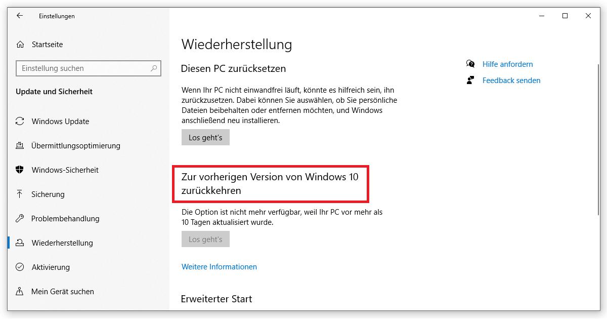 Mit Windows.old zur vorherigen Version von Windows 10 zurückkehren
