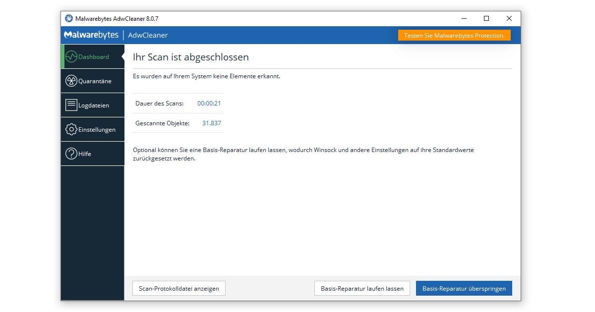 Auf den AdwCleaner Download folgt der entscheidende Scan