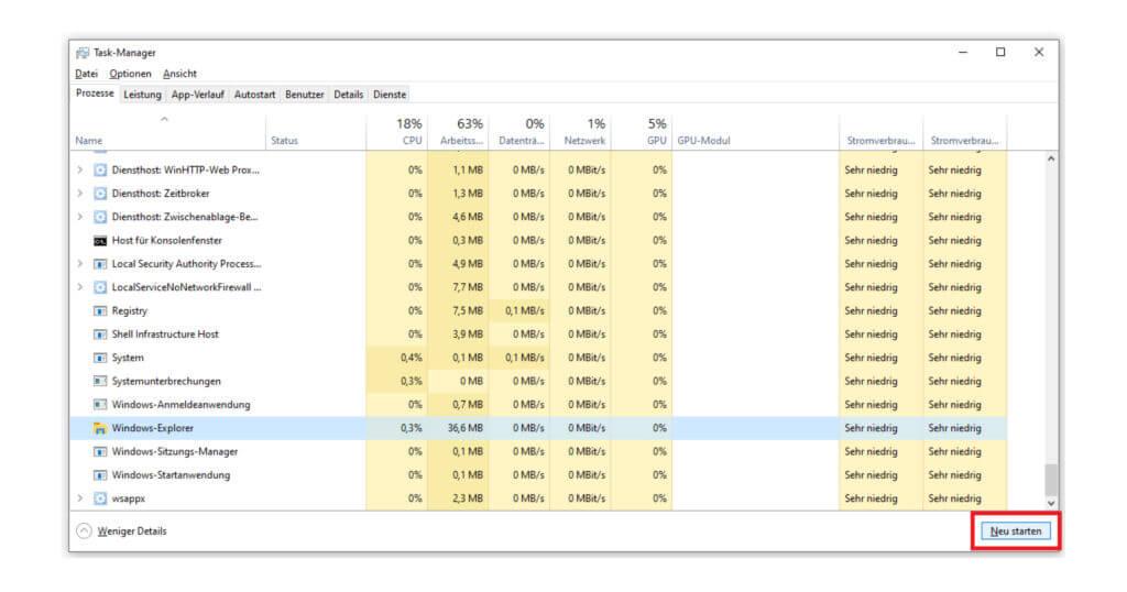 Ein Neustart des Windows-Explorers hilft bei Problemen mit deiner Taskleiste
