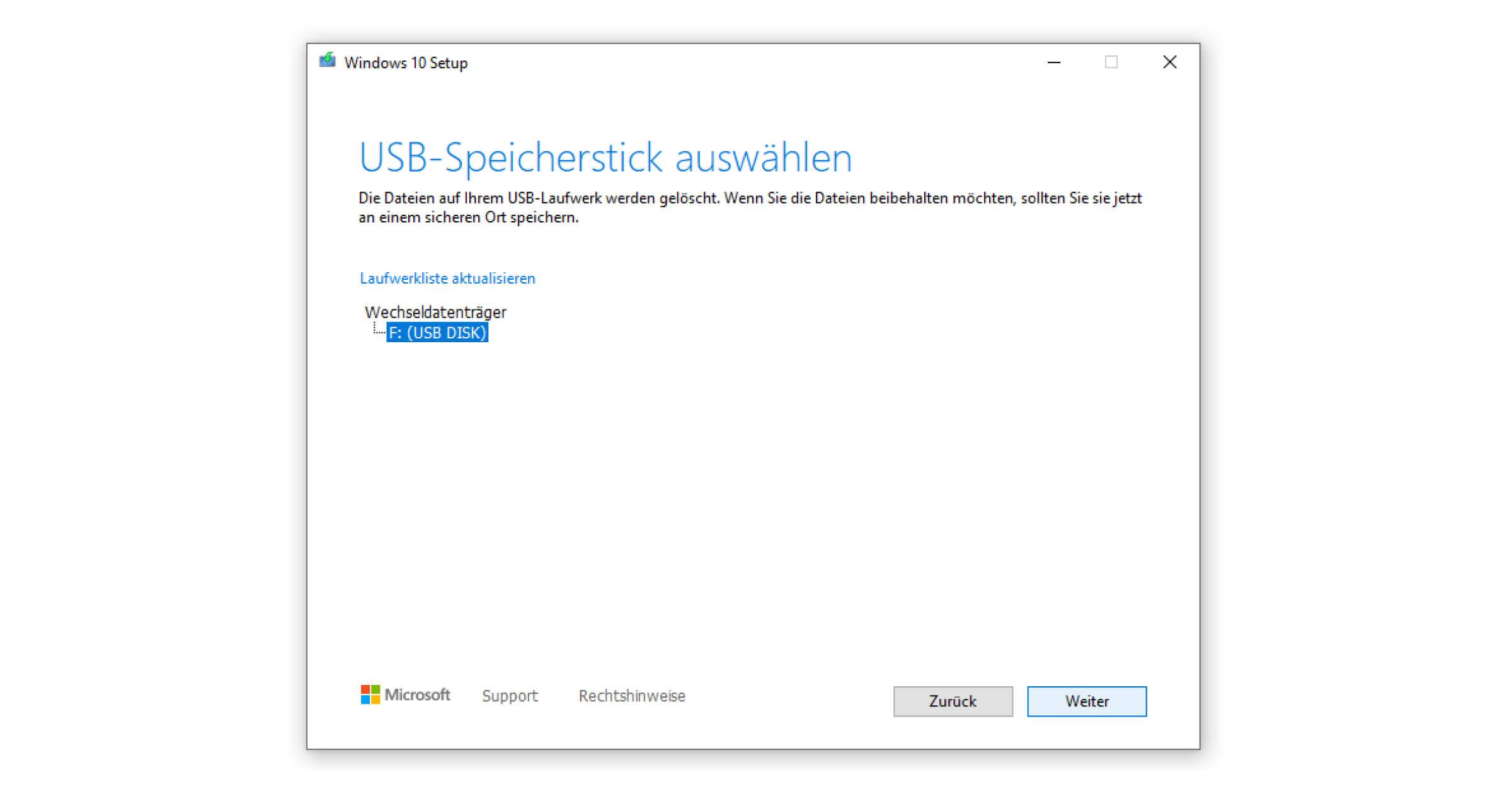 Das Laufwerk für den Windows 10 Boot Stick sollte automatisch erkannt werden
