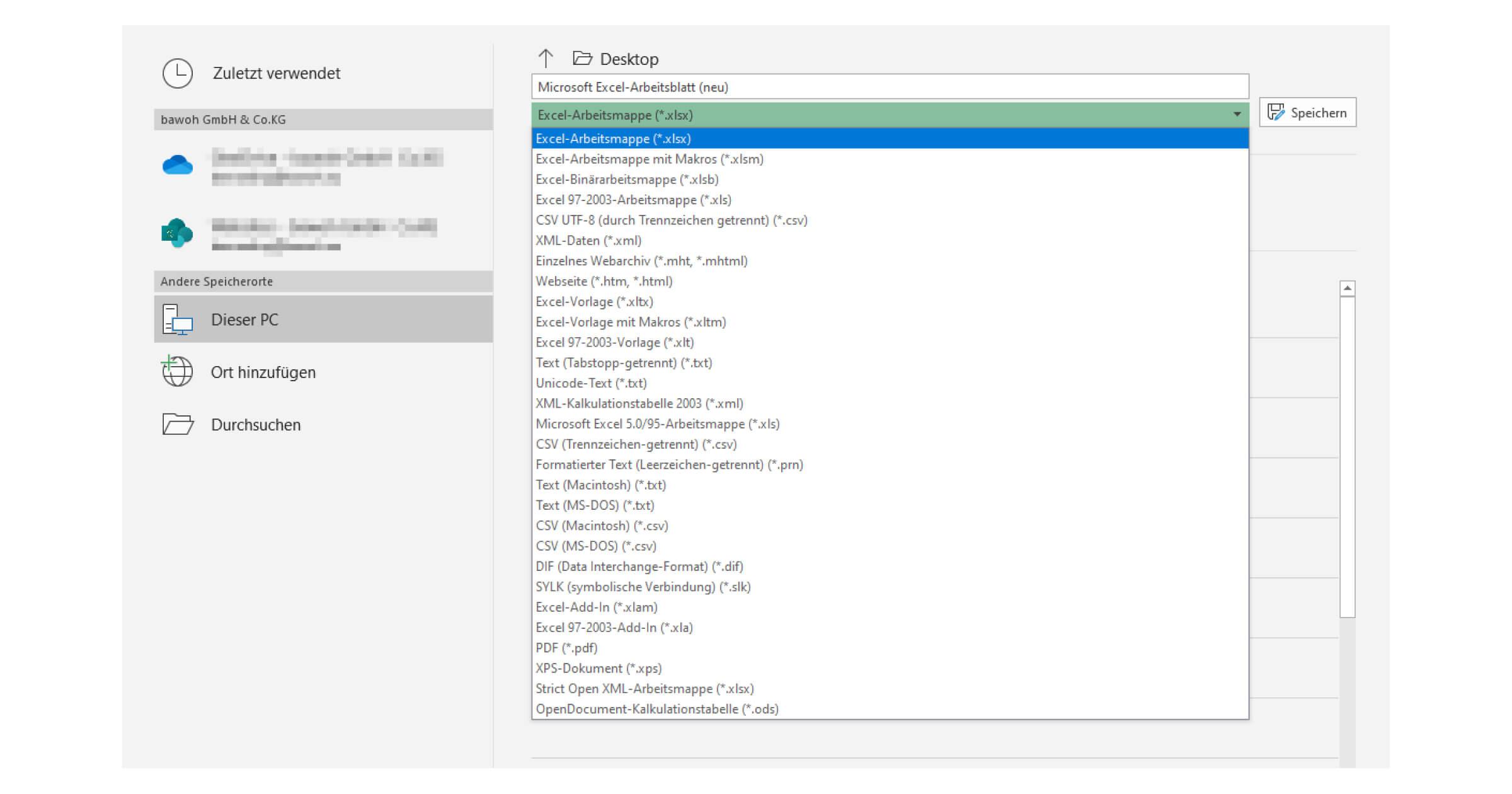 Eine XLSX Datei öffnen und speichern in Office 365