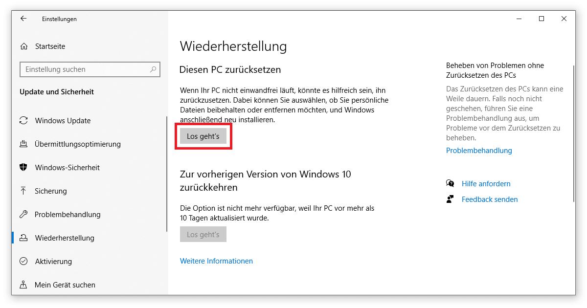 In Windows 10 ist die Zurücksetzung deines Systems so einfach wie nie zuvor