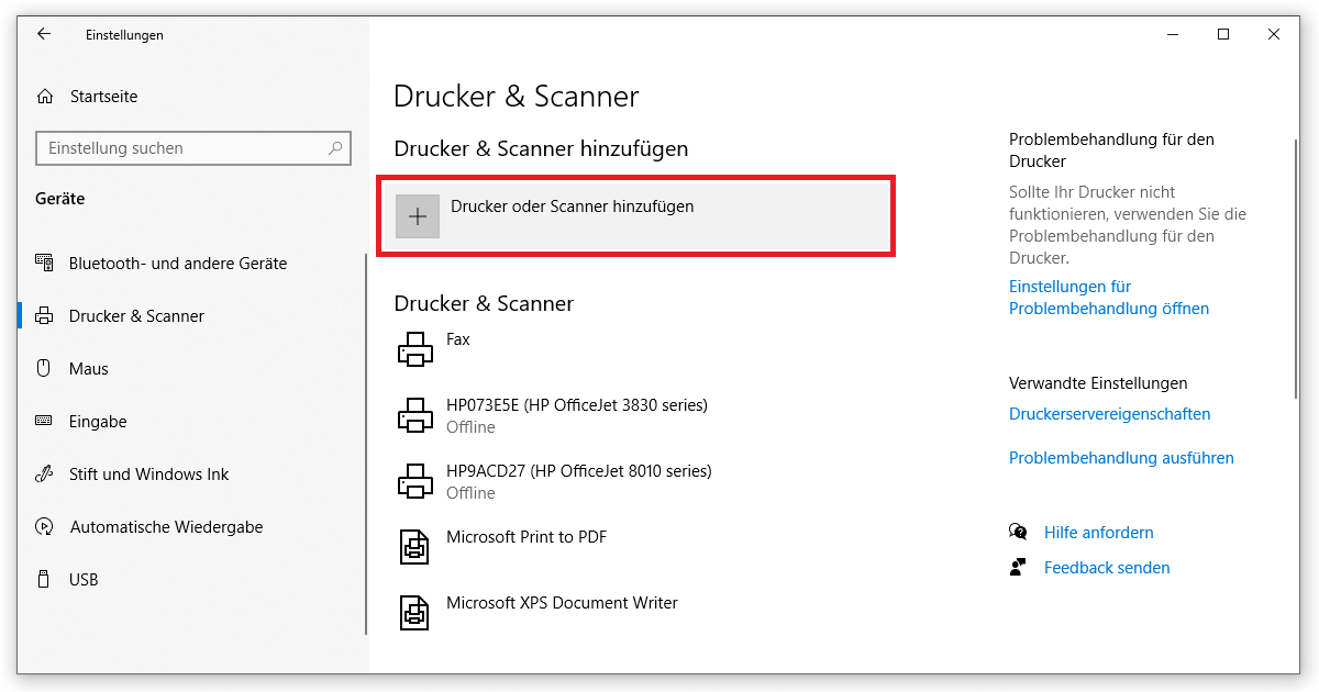 In den Einstellungen kannst du bei Windows 10 Drucker installieren