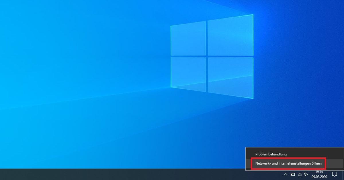 Windows 10 WLAN Passwort anzeigen über das Symbol in der Taskleiste