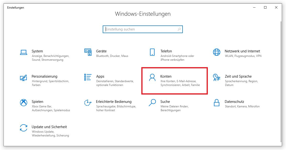 Hier findest du deine Konten und E-Mail-Adressen unter Windows 10