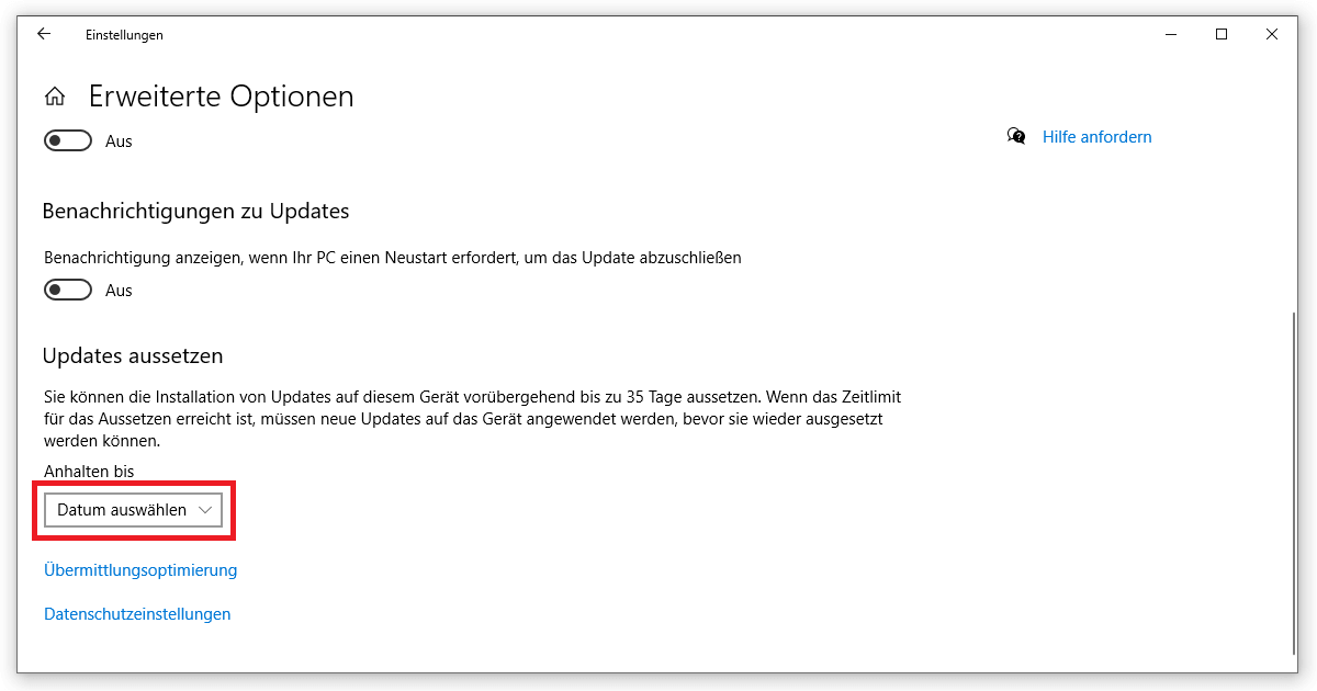 In den Erweiterten Optionen das Windows Update reparieren
