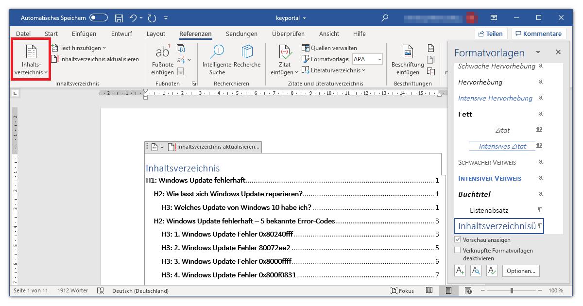 Automatisches Inhaltsverzeichnis Word Layouts