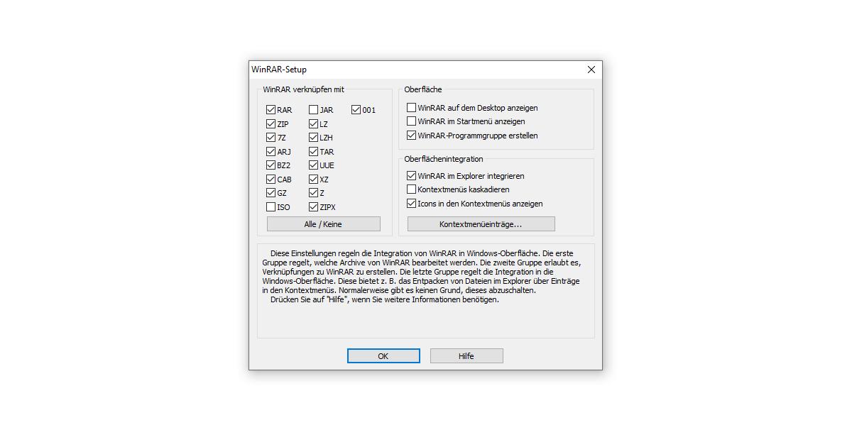 Deine Standardauswahl nach dem WinRAR Download