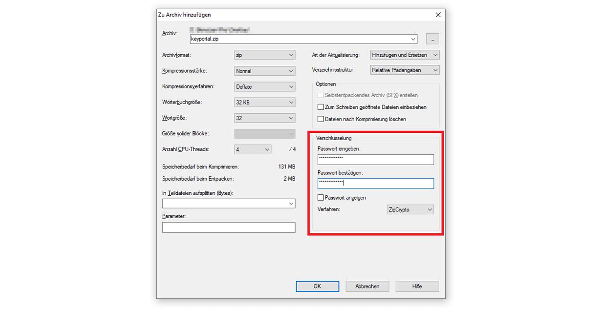 Mit 7-Zip einen Windows 10 Ordner mit Passwort schützen