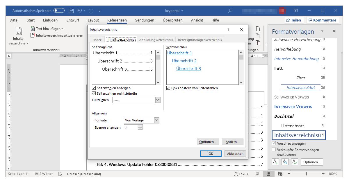Ein automatisches Inhaltsverzeichnis in Word anlegen und aktualisieren
