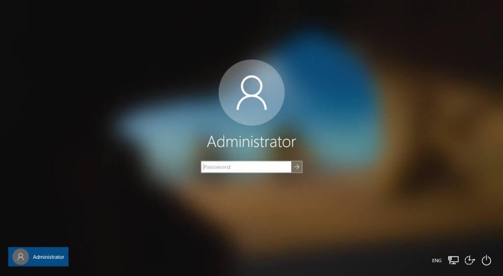 Die Anmeldung, wenn du das Administrator-Konto aktivieren konntest
