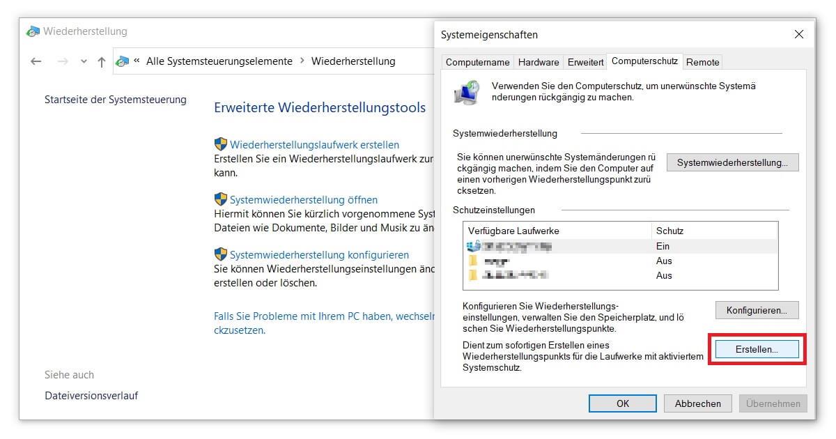 Einen Windows 10 Wiederherstellungspunkt erstellen und die Festplatte konfigurieren