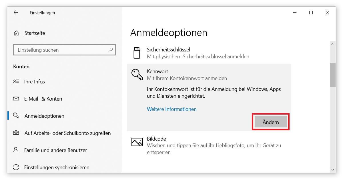 Windows 10 Passwort anpassen, ändern oder entfernen