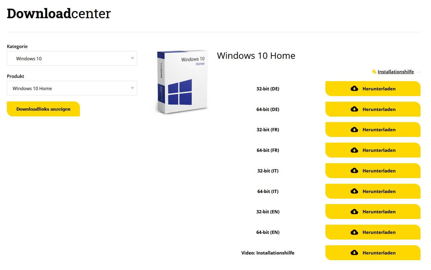 Im Downloadcenter von keyportal.ch die passende Ausführung herunterladen