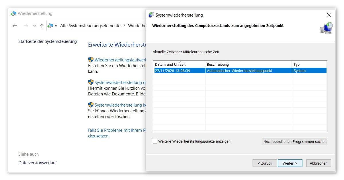 So lädst du deinen Windows 10 Wiederherstellungspunkt
