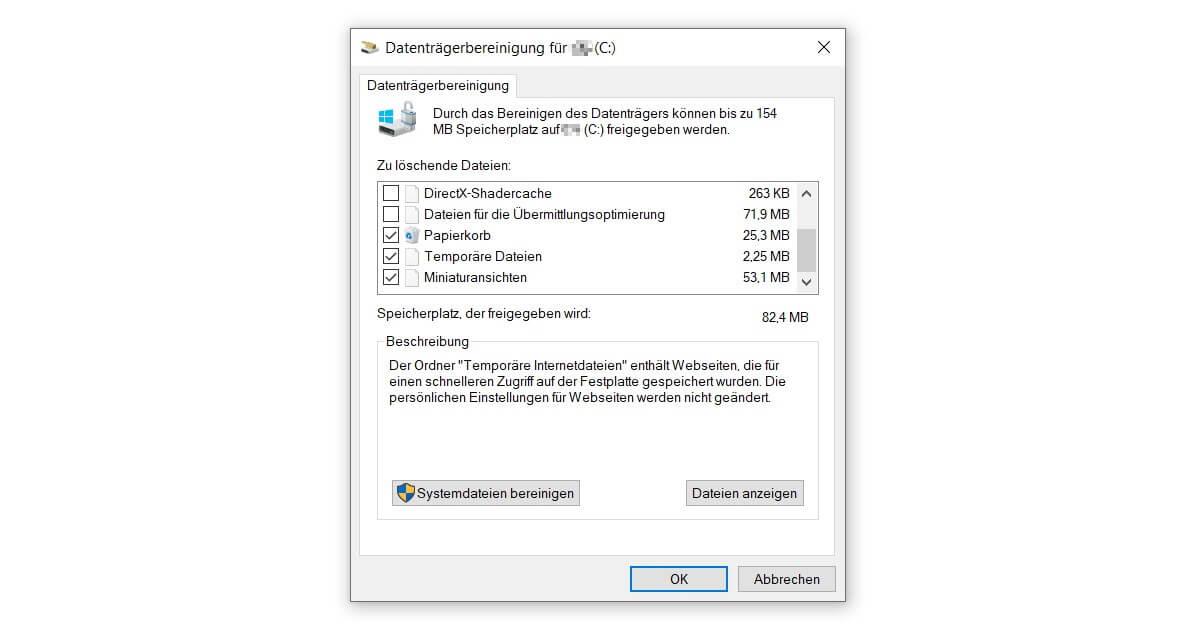 Den PC aufräumen und schneller machen dank der Datenträgerbereinigung
