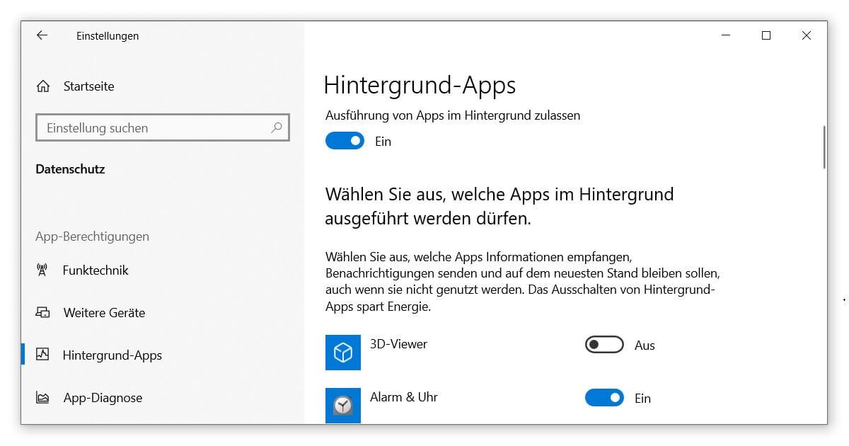 Deinen PC aufräumen, indem du die Ausführung von Apps im Hintergrund stoppst