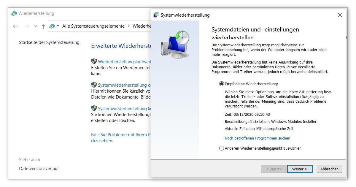 Windows Reparatur ohne Neuinstallation mittels Systemwiederherstellung
