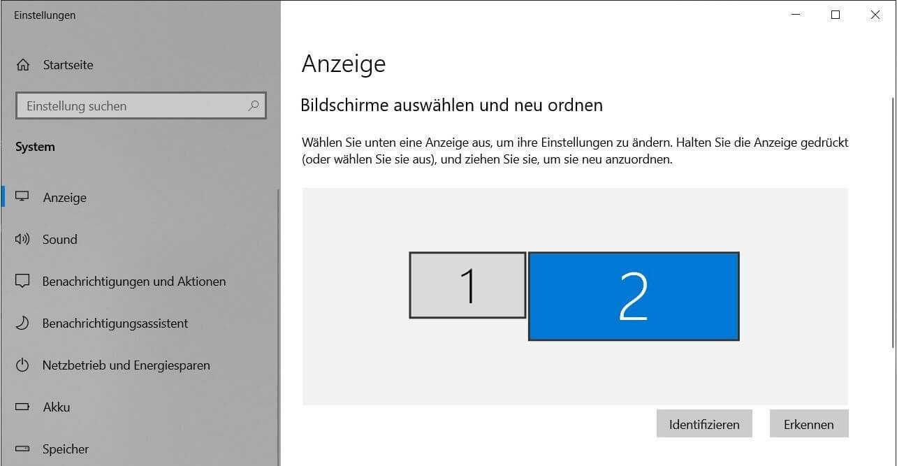 Unter Windows 10 die Position zweier Bildschirme einrichten