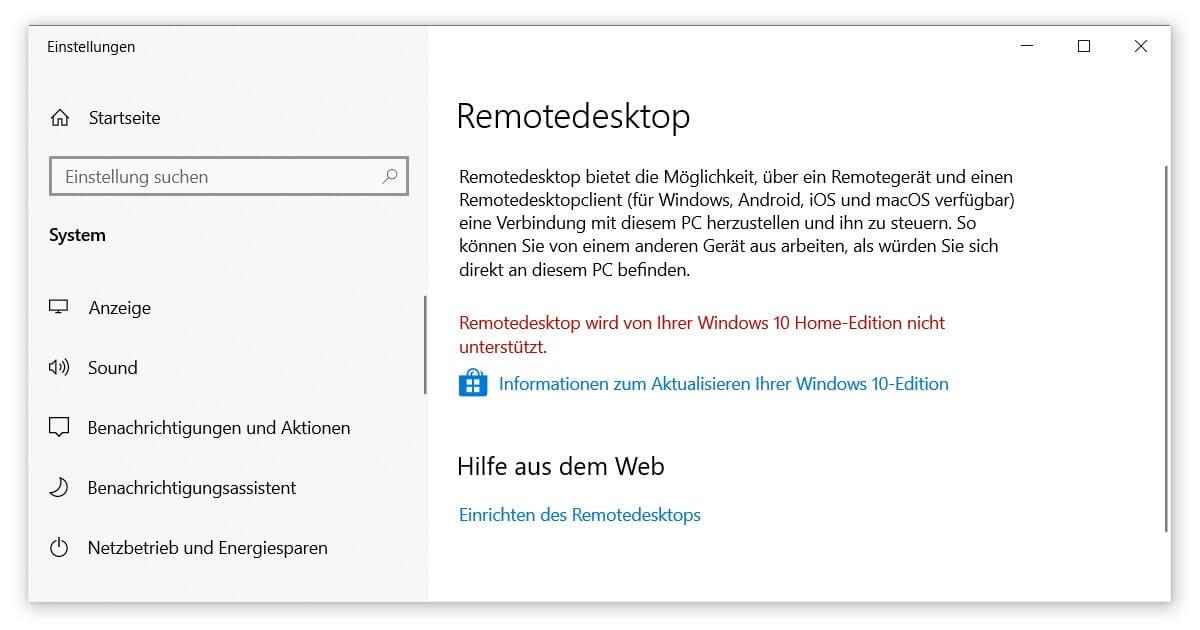 Bei Windows 10 Home lässt sich kein Remote Desktop einrichten