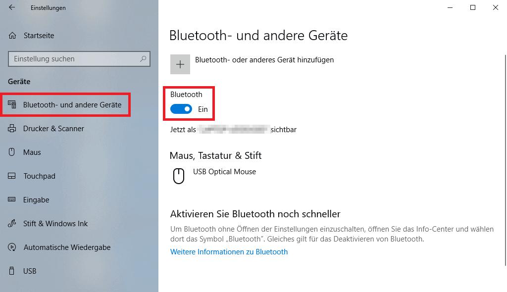 Unter Windows 10 Bluetooth aktivieren