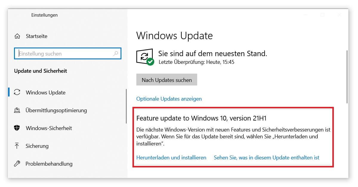 Betriebssystem aktualisieren und Fehler beheben
