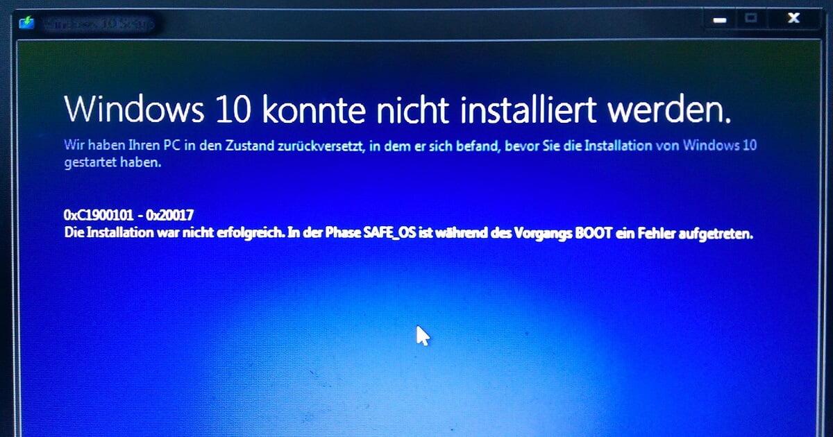Windows 10 konnte nicht installiert werden, Fehler 0xC1900101 - 0x20017