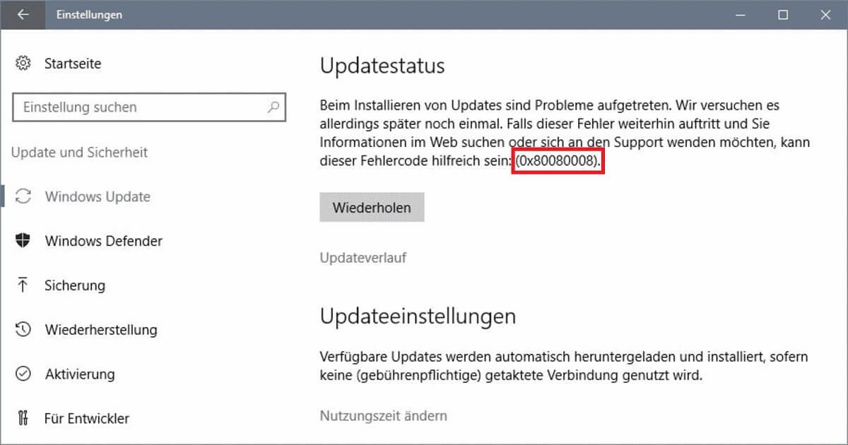 Funktionsupdate für Windows 10, Version 1903 – Fehler 0x80080008