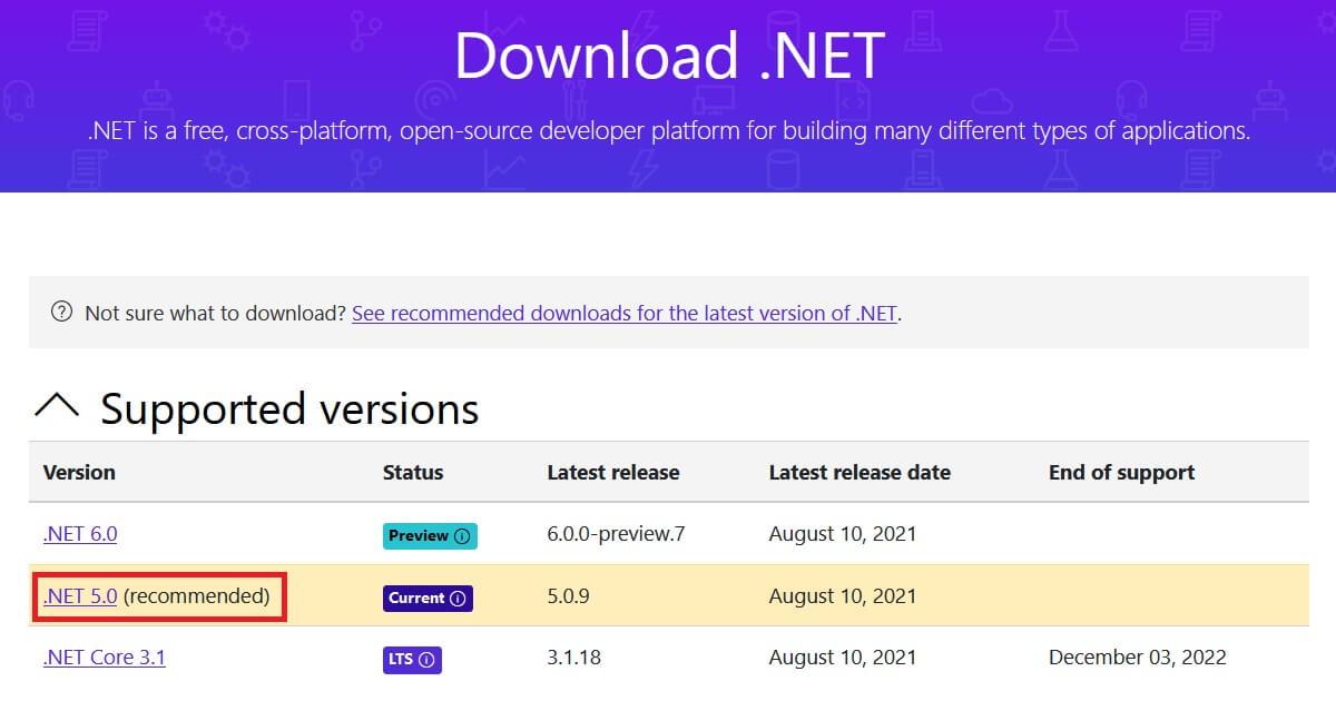 .NET Framework comme condition préalable à la mise à jour