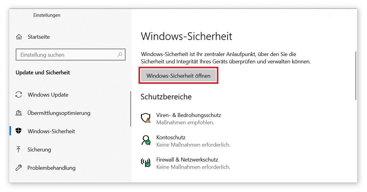 Unter Windows für Sicherheit sorgen